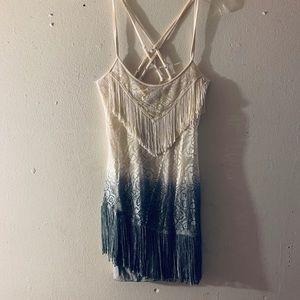 Free People Fringe Ombre Halter Dress Size Large